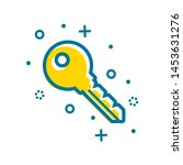 flat outline decorated key icon ...