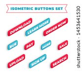 set of isometric vector buttons ...