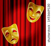 theater masks on a red... | Shutterstock . vector #1453669130