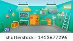 garage interior room with tools ... | Shutterstock .eps vector #1453677296