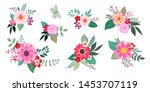 set of cute floral bunches | Shutterstock .eps vector #1453707119