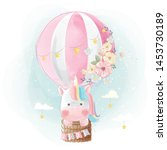 colorful unicorn flying with...   Shutterstock .eps vector #1453730189