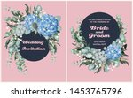 vintage wedding card with... | Shutterstock .eps vector #1453765796