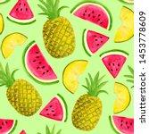 seamless watercolor pattern... | Shutterstock . vector #1453778609