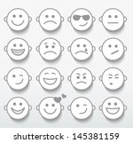 set of faces with various... | Shutterstock . vector #145381159