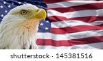 bald eagle and american flag | Shutterstock . vector #145381516