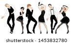 retro party set  men and women... | Shutterstock .eps vector #1453832780