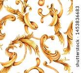 watercolor golden baroque... | Shutterstock . vector #1453836683