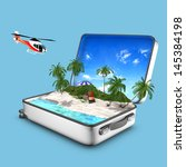 concept of opened suitcase that ... | Shutterstock . vector #145384198