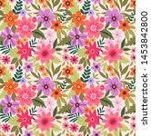 elegant floral pattern in small ... | Shutterstock .eps vector #1453842800