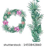 flower wreath with tropical... | Shutterstock .eps vector #1453842860