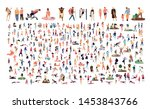 crowd of flat illustrated... | Shutterstock .eps vector #1453843766