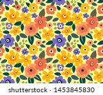 elegant floral pattern in small ... | Shutterstock .eps vector #1453845830