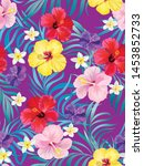 exotic tropical flowers coral... | Shutterstock .eps vector #1453852733