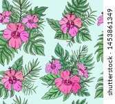 tropic seamless pattern with... | Shutterstock .eps vector #1453861349