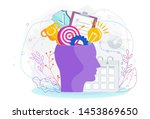 human head with thoughts and... | Shutterstock .eps vector #1453869650