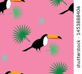 exotic toucan pattern. cartoon... | Shutterstock .eps vector #1453888406
