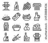 greek cuisine icons set.... | Shutterstock .eps vector #1453888436