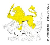 lion and dragon . heraldry.... | Shutterstock .eps vector #1453897073