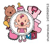 cute little baby girl with toys ... | Shutterstock .eps vector #1453900913