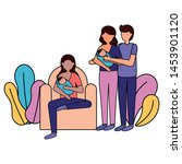 woman with baby and couple... | Shutterstock .eps vector #1453901120