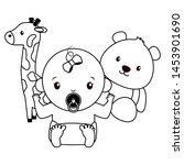 cute little baby girl with bear ... | Shutterstock .eps vector #1453901690