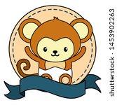 cute little monkey in frame... | Shutterstock .eps vector #1453902263