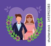 couple wedding purple hearts... | Shutterstock .eps vector #1453902383