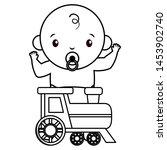 cute little baby boy with train ... | Shutterstock .eps vector #1453902740