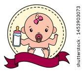 cute little baby girl with milk ... | Shutterstock .eps vector #1453903073