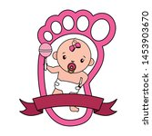 cute little baby girl with... | Shutterstock .eps vector #1453903670