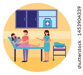mom with baby in clinic bed... | Shutterstock .eps vector #1453904339