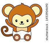 cute little monkey baby... | Shutterstock .eps vector #1453904690