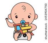 cute little baby boy with train ... | Shutterstock .eps vector #1453904750