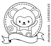 cute little monkey in frame... | Shutterstock .eps vector #1453905143