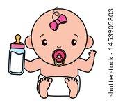cute little baby girl with milk ... | Shutterstock .eps vector #1453905803