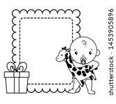 baby boy with giraffe gift baby ... | Shutterstock .eps vector #1453905896
