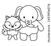 cute little elephant with fox... | Shutterstock .eps vector #1453906076