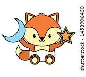 cute little fox baby with moon... | Shutterstock .eps vector #1453906430