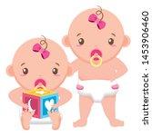 cute little babies girls with... | Shutterstock .eps vector #1453906460