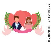 bride and groom love hearts... | Shutterstock .eps vector #1453906703