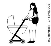 mother with baby pram maternity ... | Shutterstock .eps vector #1453907003