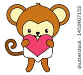 cute little monkey with heart... | Shutterstock .eps vector #1453907153