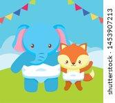 cute little elephant with fox... | Shutterstock .eps vector #1453907213