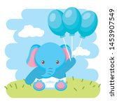 cute little elephant baby with... | Shutterstock .eps vector #1453907549