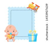 boy with train toy gift baby... | Shutterstock .eps vector #1453907639