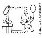 baby boy with gift milk bottle... | Shutterstock .eps vector #1453907819