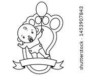 baby shower boy with footprint... | Shutterstock .eps vector #1453907843