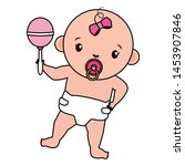 cute little baby girl with... | Shutterstock .eps vector #1453907846