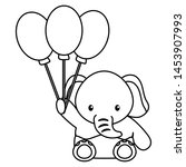 cute little elephant baby with... | Shutterstock .eps vector #1453907993